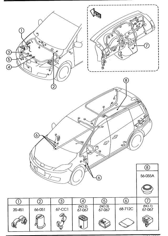 mazda wiring harness clamps