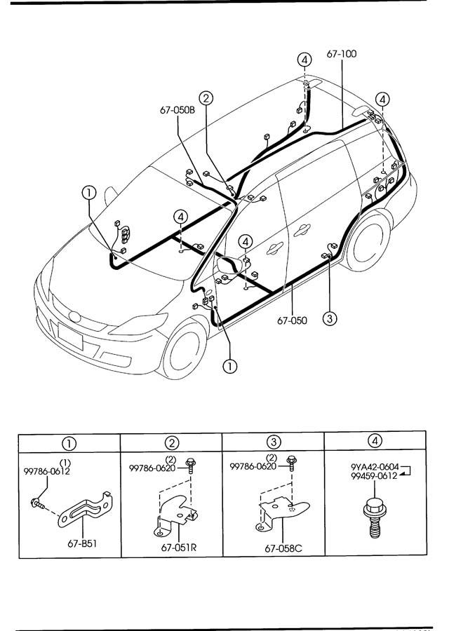 mazda 5 front  u0026 rear wiring harnesses