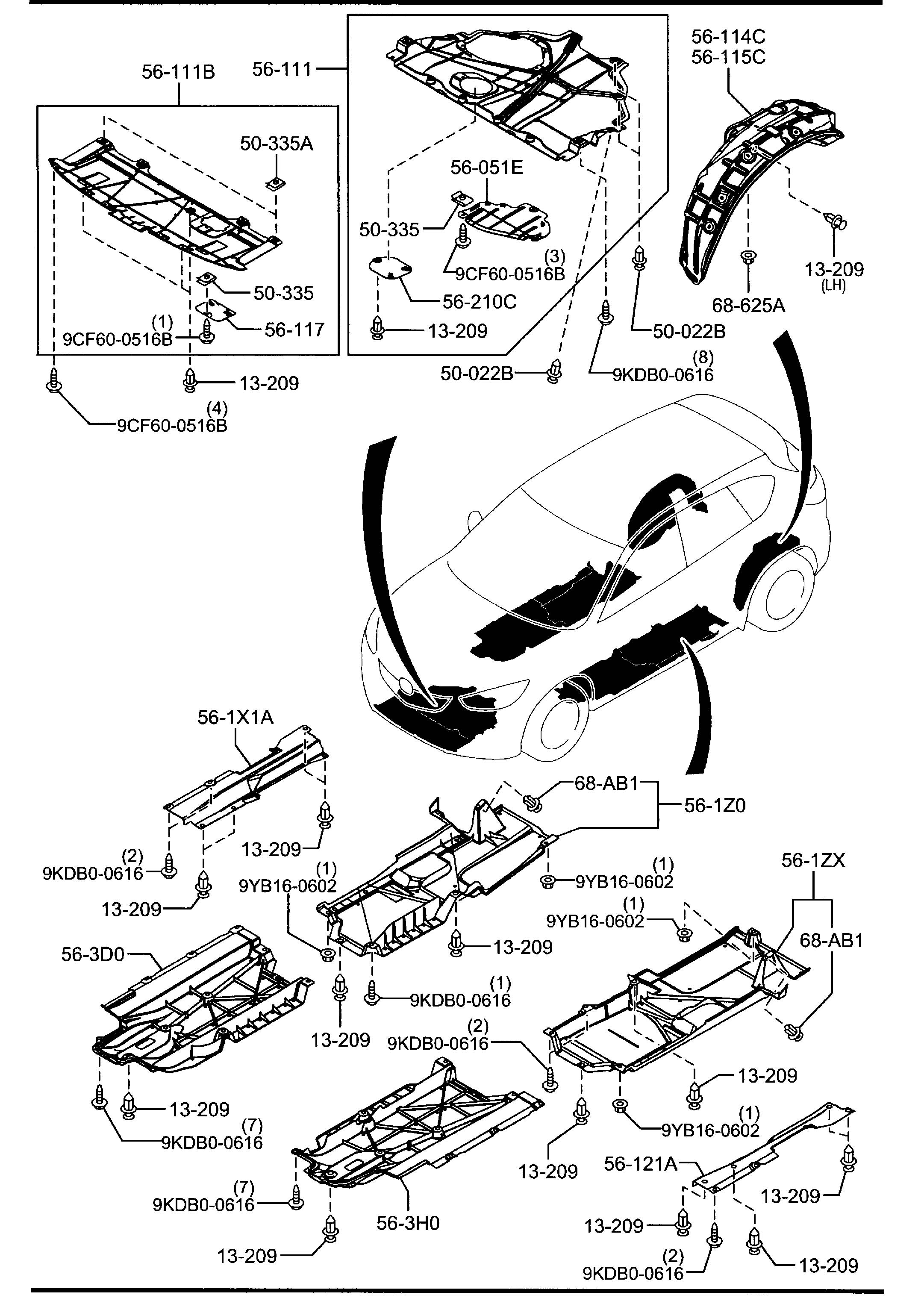 Mazda Cx-5 Nut  Clip  Brackets  Splash  Under