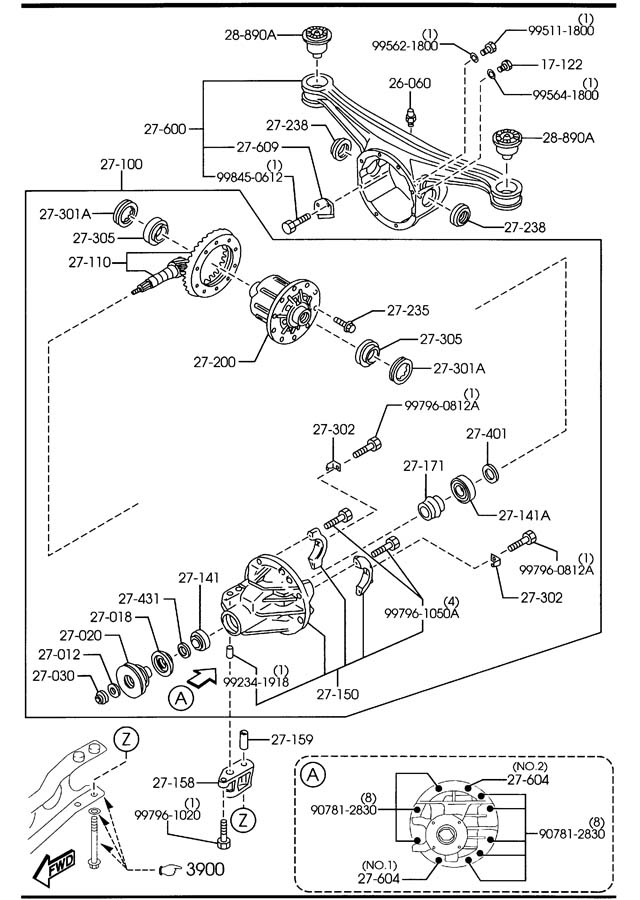 Diagram REAR DIFFERENTIALS (LIMITED SLIP DIFF.) for your 2001 Mazda Miata