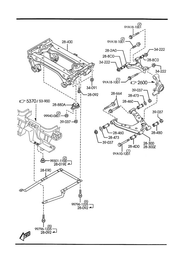 Diagram REAR LOWER ARMS & SUB FRAME for your Mazda Miata