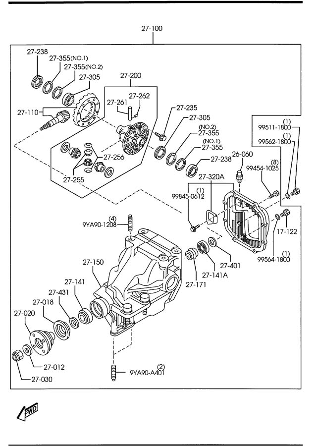 Diagram REAR DIFFERENTIALS (NORMAL DIFF.) for your Mazda Miata