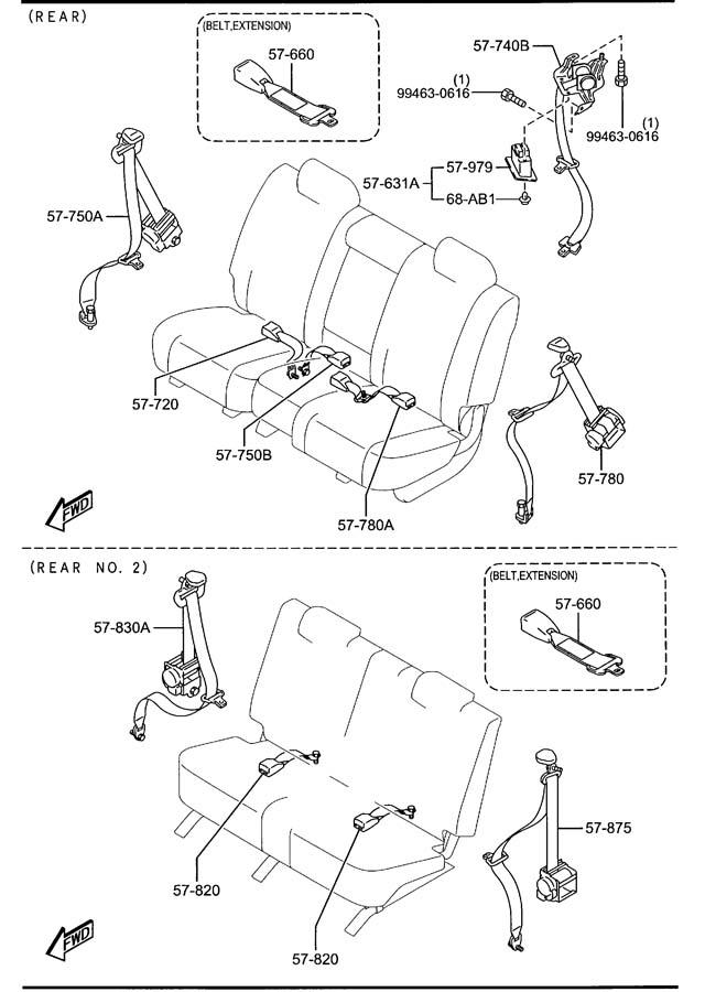 mazda cx-9 belt  u0026 39 a  u0026 39   rear  rr  seat no 2  third
