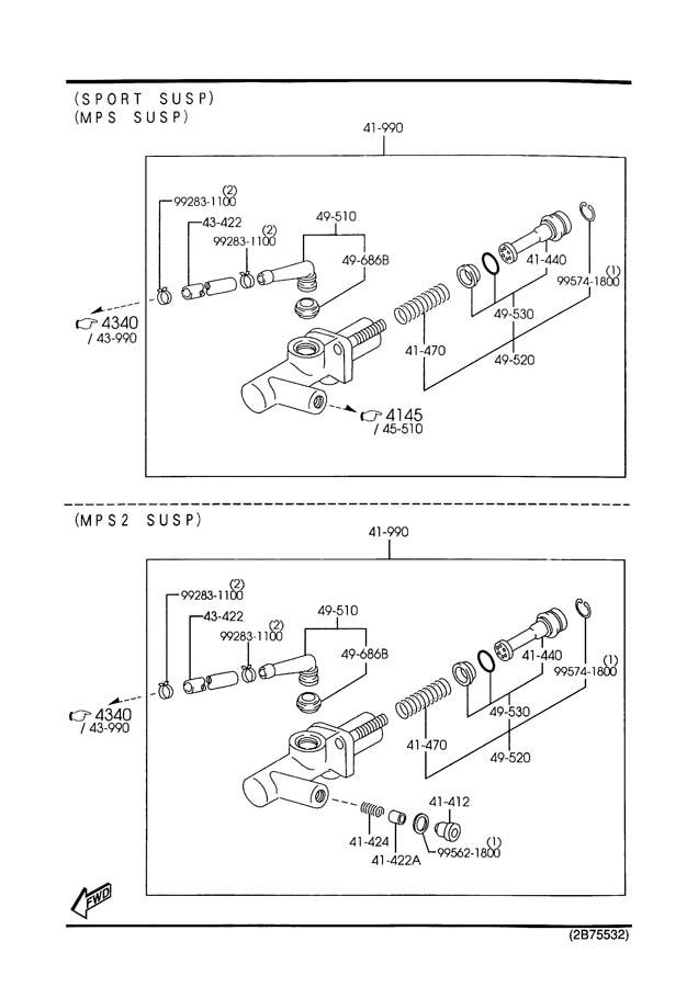 2003 Mazda Protege 5 Cylinder   Clutch Master  Cylinders  Mps