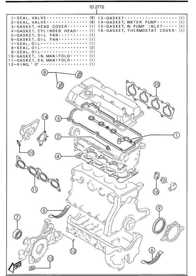 2003 Mazda Protege Engine Gasket Set  Protege  1 6l