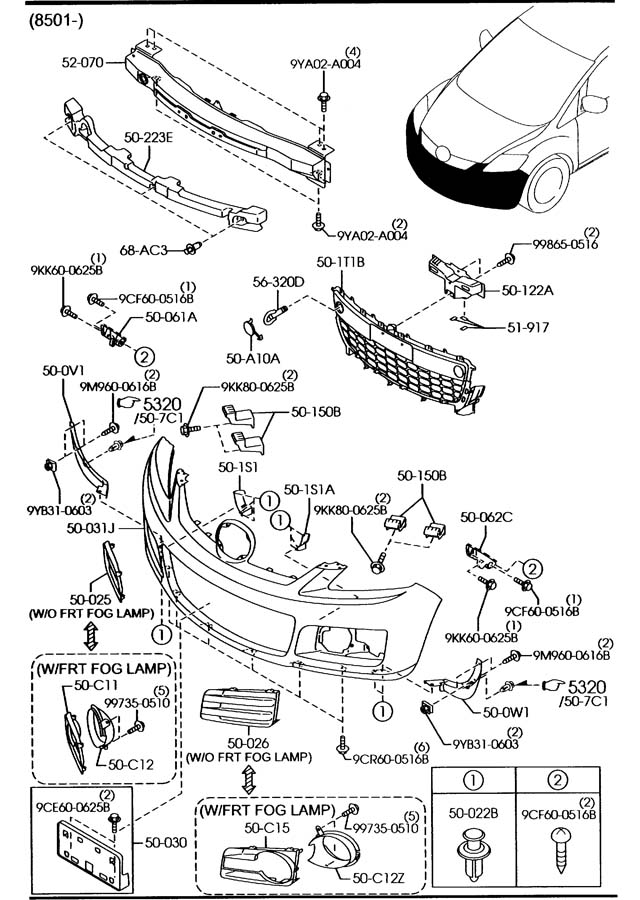Mazda Cx-7 Fastener  Impact  Brackets  Absorrber
