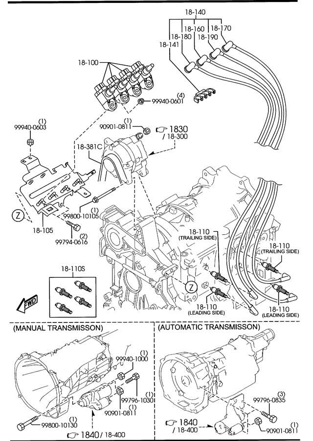 Mazda Rx-8 Spark Plug  Leading  Ngk