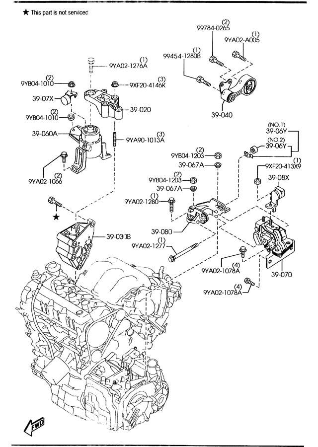 2006 Mazda Mazda 6 Rubber Right  R   Engine Mt