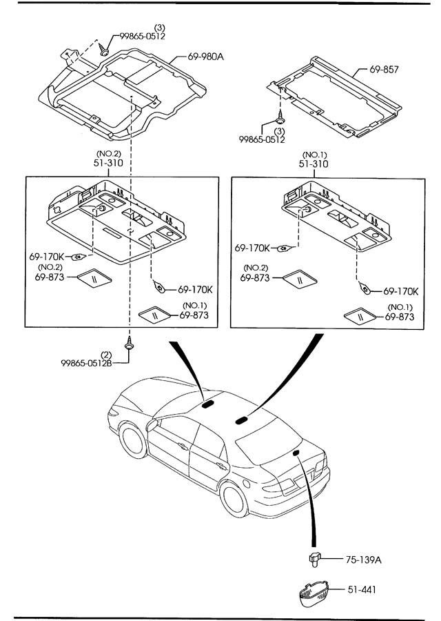 2010 Mazda Mazda 6 Console  Overhead