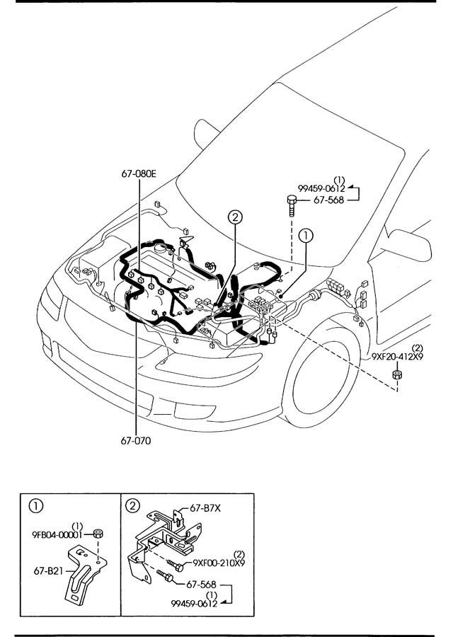 mazda engine transmission wiring harnesses 2300cc