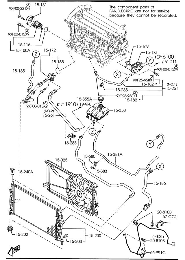 mazda tribute water pump diagram