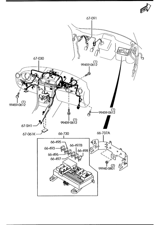 2008 mazda 3 dashboard wiring harnesses 4 door 2300cc