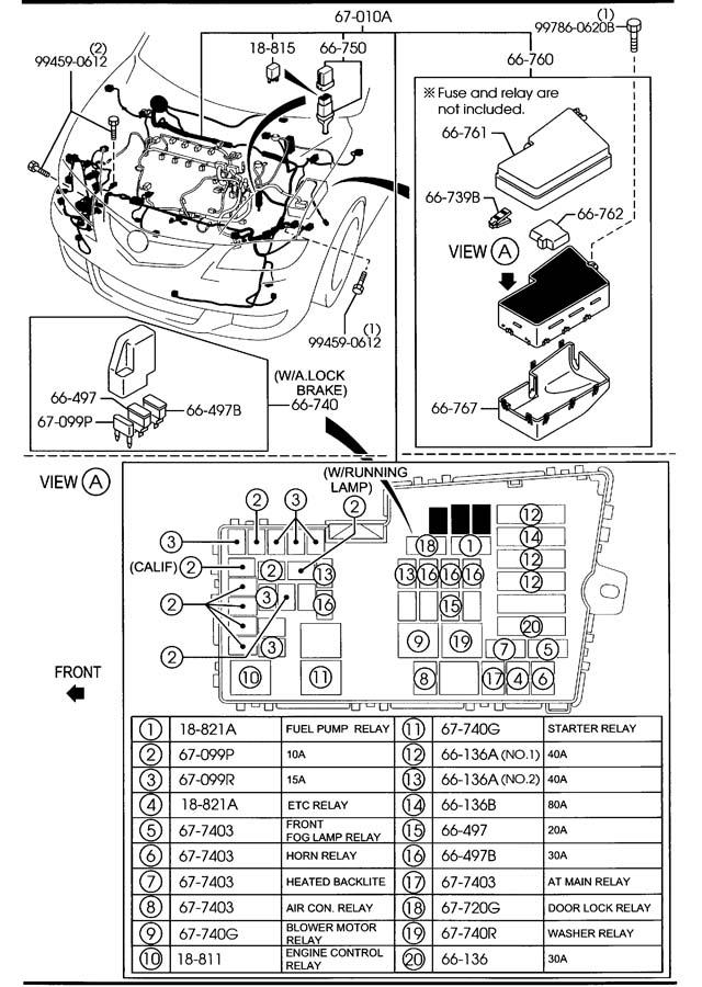 mazda front rear wiring harnesses 4 door 2000cc