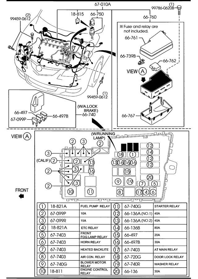 mazda front rear wiring harnesses 4 door 2300cc
