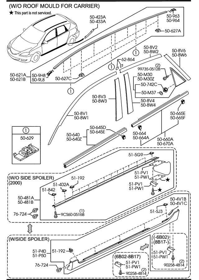 Mazda Mazda 3 Clip  Roof Moulding