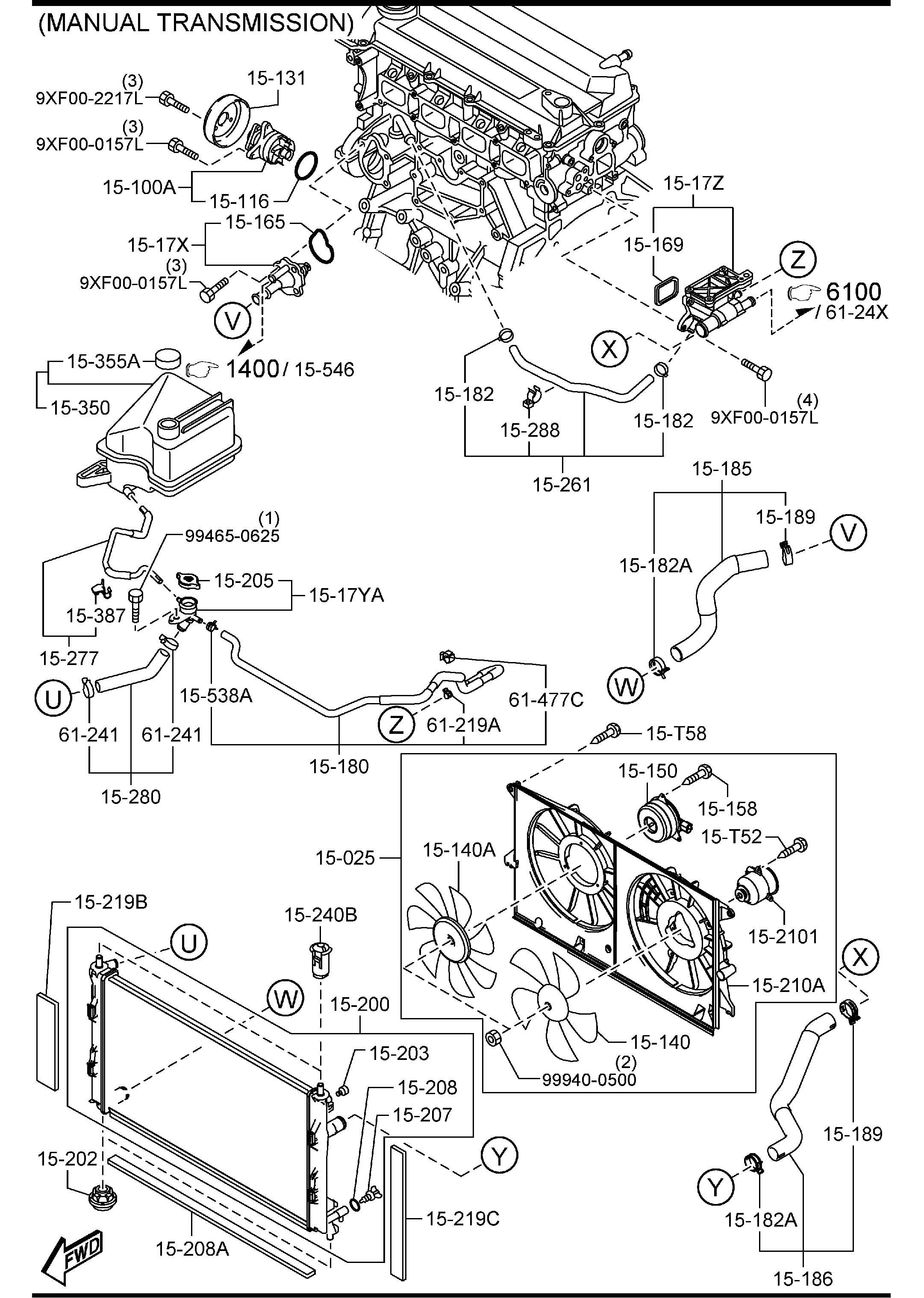 COOLING SYSTEM (MANUAL TRANSMISSION). 1500A for Mazda 5. #363636