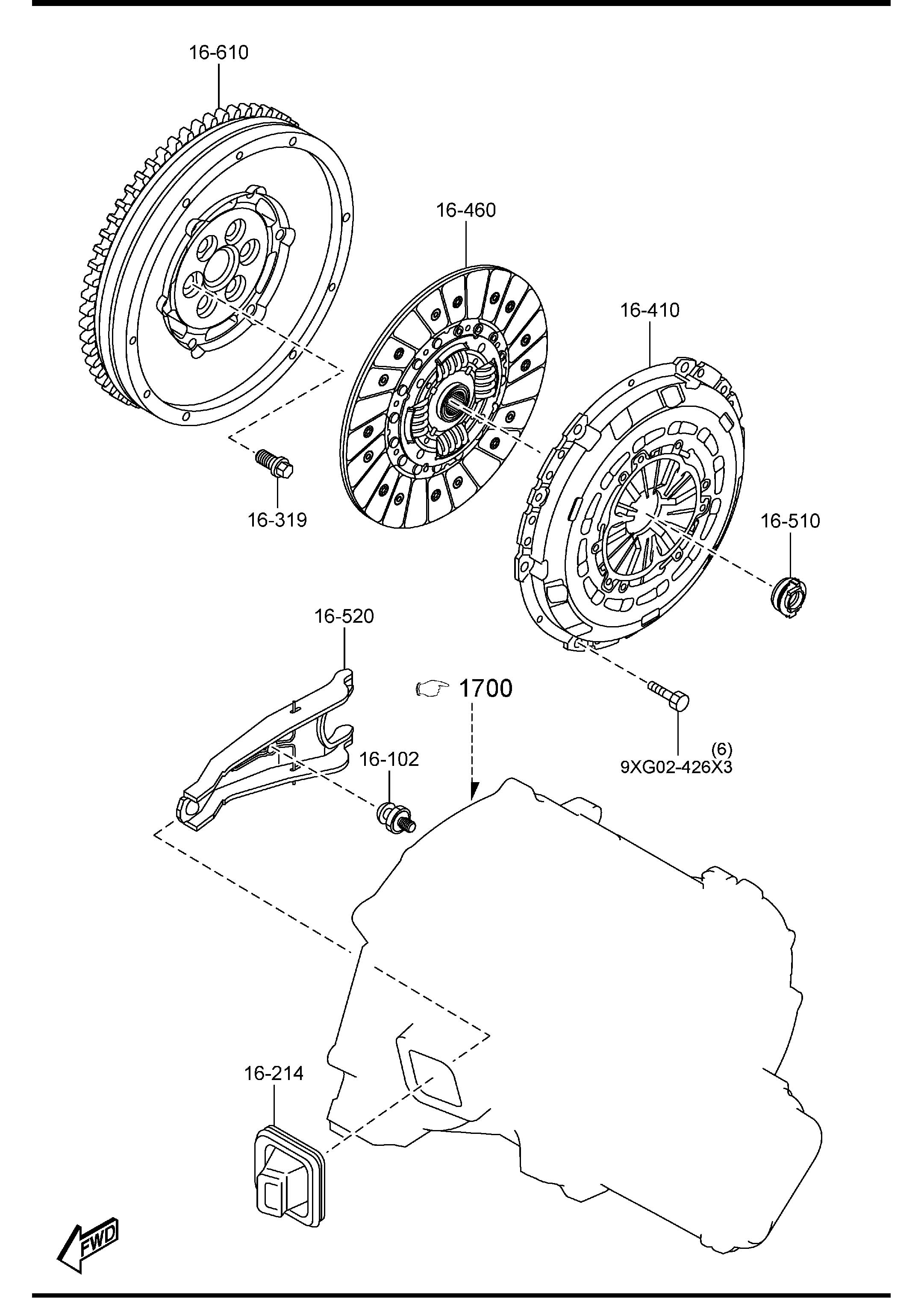 Diagram CLUTCH DISC & COVER (6-SPEED)(2300CC) for your Mazda Mazda 3