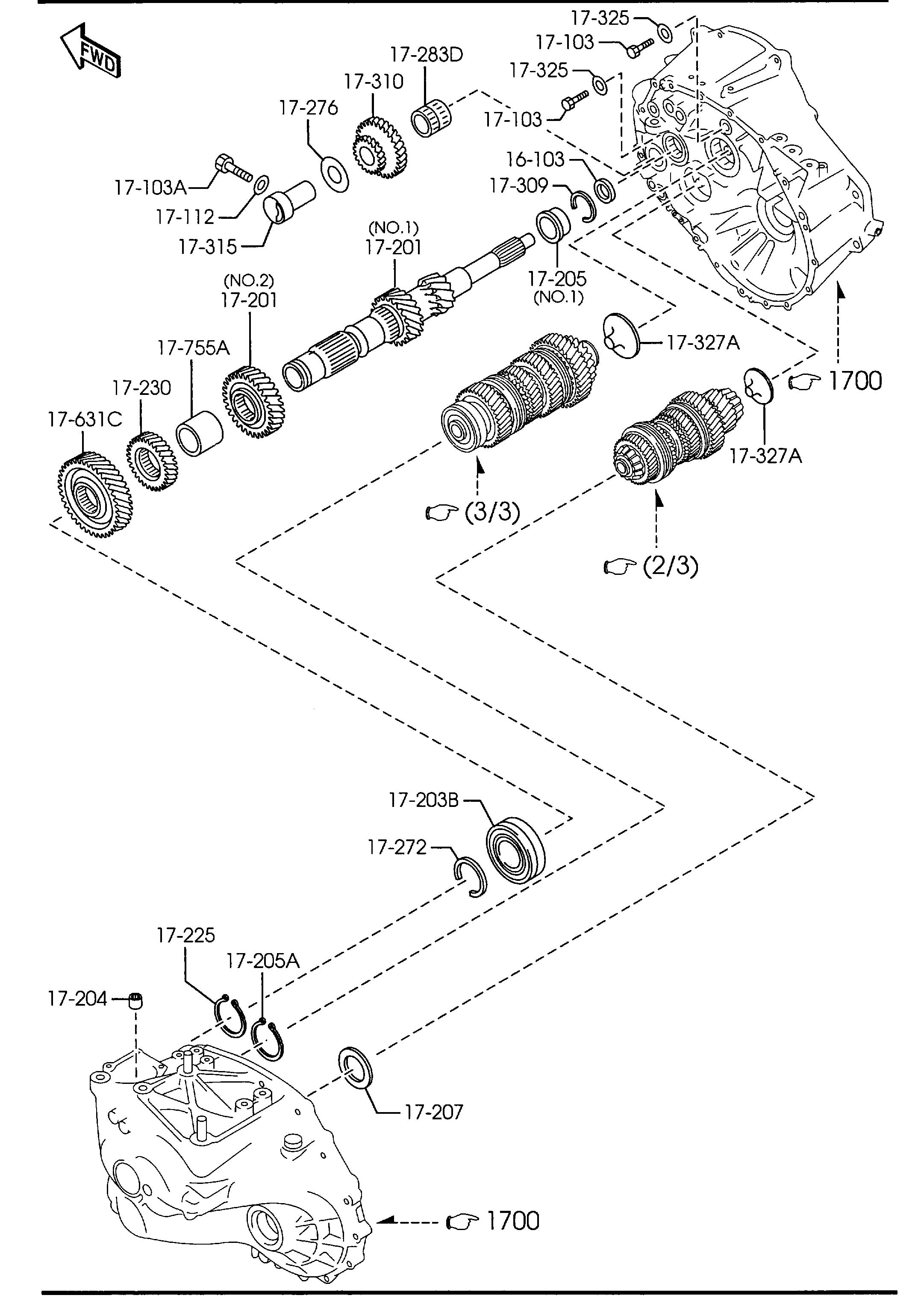 Diagram MANUAL TRANSMISSION GEARS (6-SPEED)(2300CC) for your Mazda Mazda 3