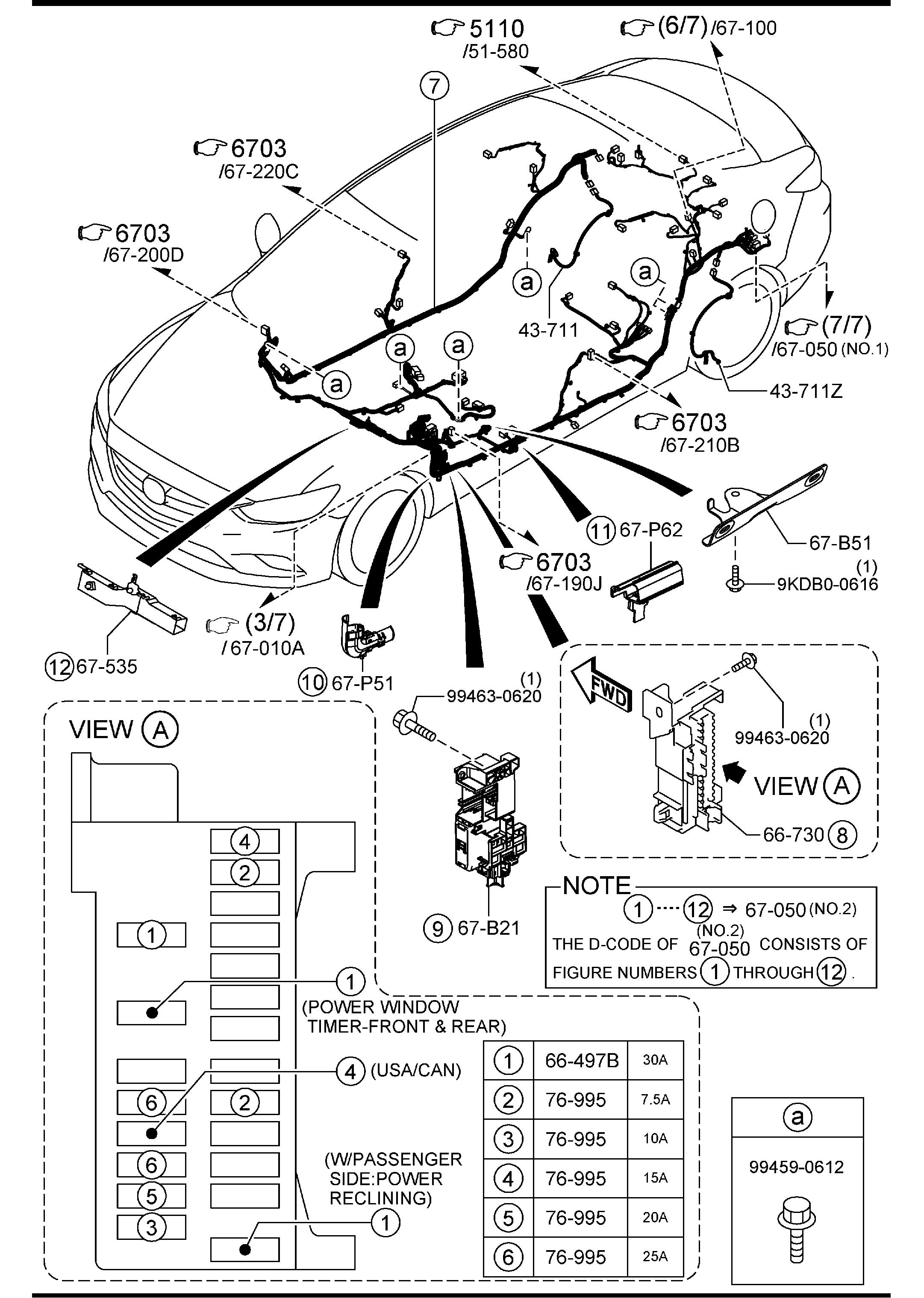 2014 Mazda 3 Wiring Harness Free Diagram For You Ford Mustang Power Window 6 Front Rear Harnesses 1966