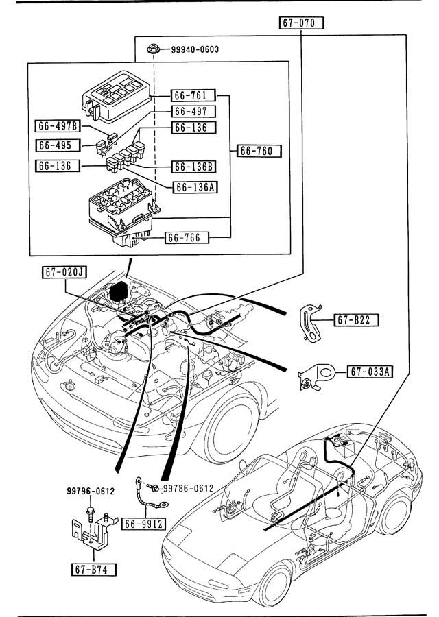 1990 mazda miata engine transmission wiring harnesses
