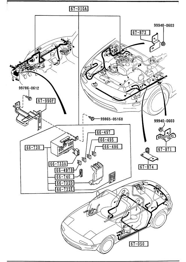 1990 mazda miata front rear wiring harnesses