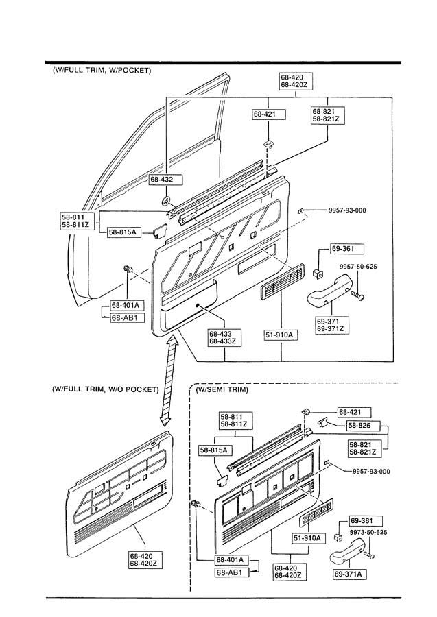 mazda b2200 front door trims  u0026 related parts