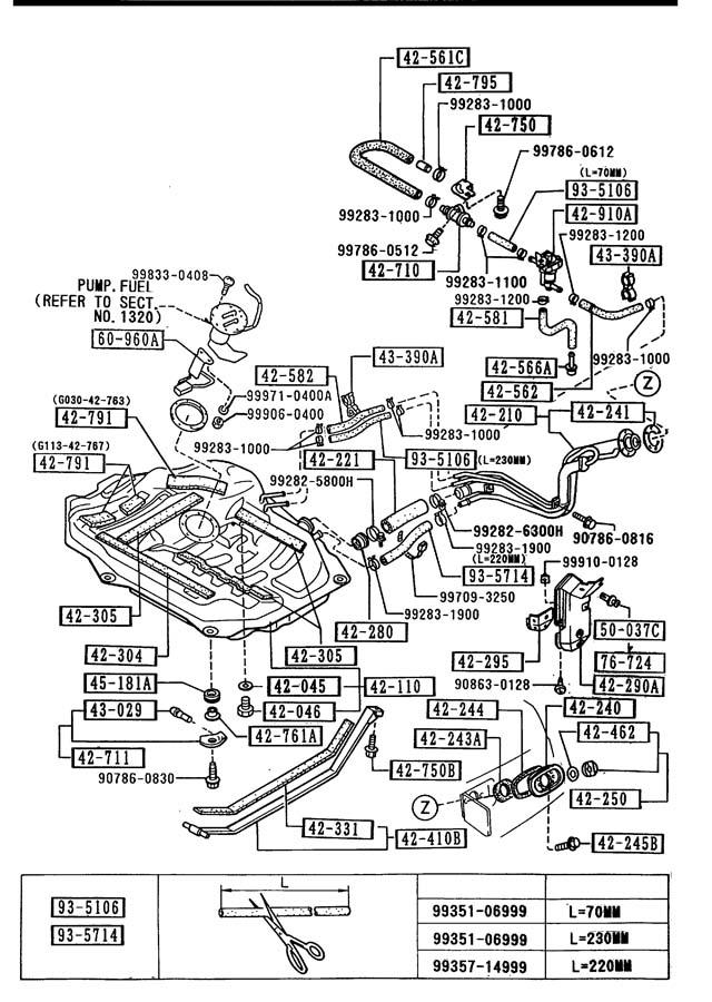 1991 Mazda 626 Filler Pipe