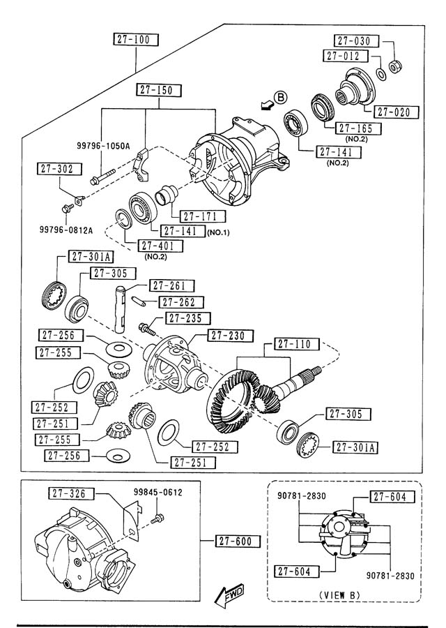 Diagram FRONT DIFFERENTIALS (4WD) for your 2013 Mazda Miata