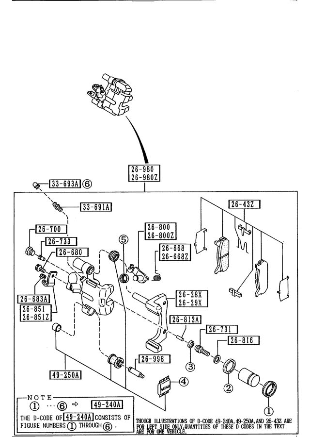 Mazda miata rear brake mechanisms