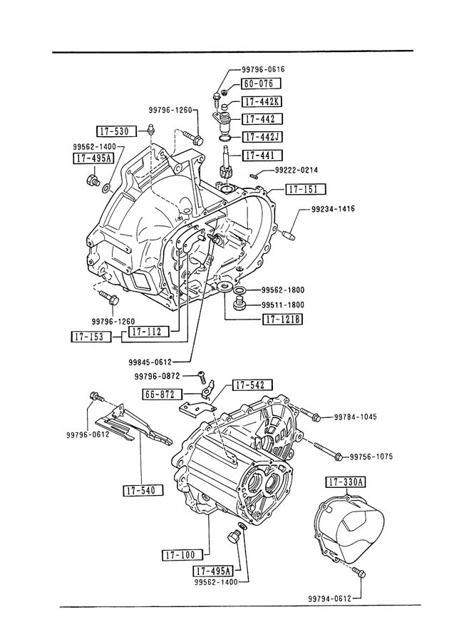 Mazda Protege S Transmission Case  Manual Transmission 5
