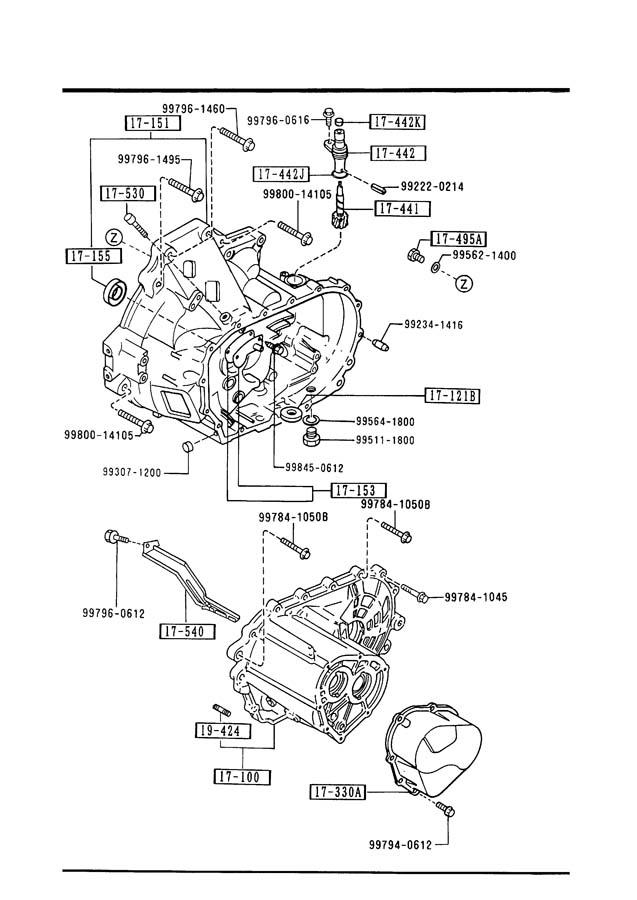 1990 Mazda 626 Transmission Case  Manual Transmission 5