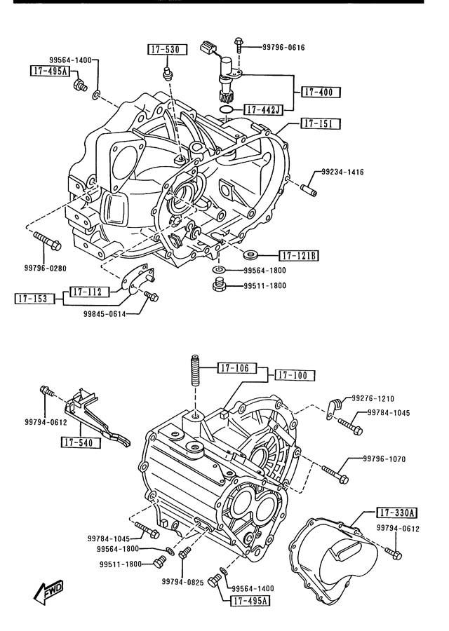 1993 Mazda 626 Transmission Case  Manual Transmission 5