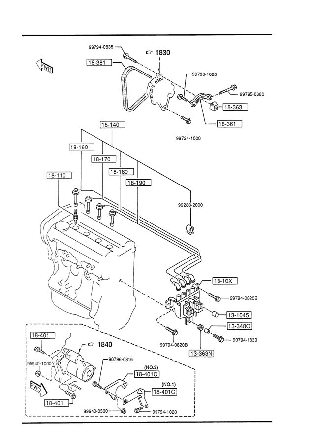 Diagram ENGINE ELECTRICAL SYSTEM for your Mazda Miata