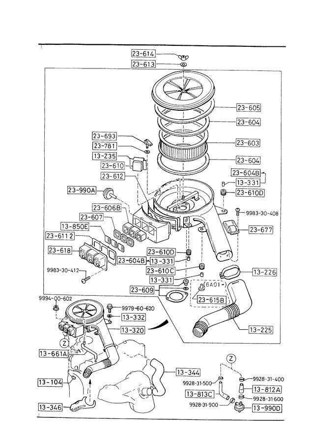 1989 mazda b2200 air cleaner  2000cc