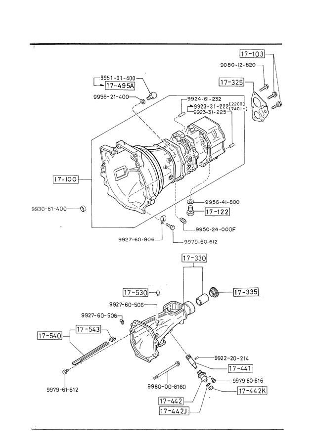 Mazda B2000 Manual Transmission Case  5
