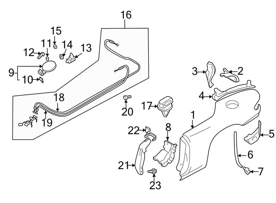 Diagram QUARTER PANEL & COMPONENTS. for your 1999 Mazda Miata